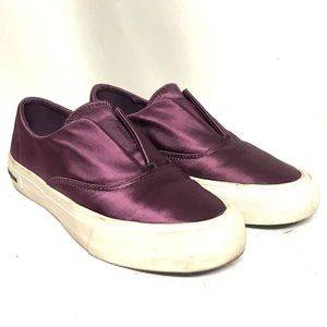 Seavees purple satin slipons